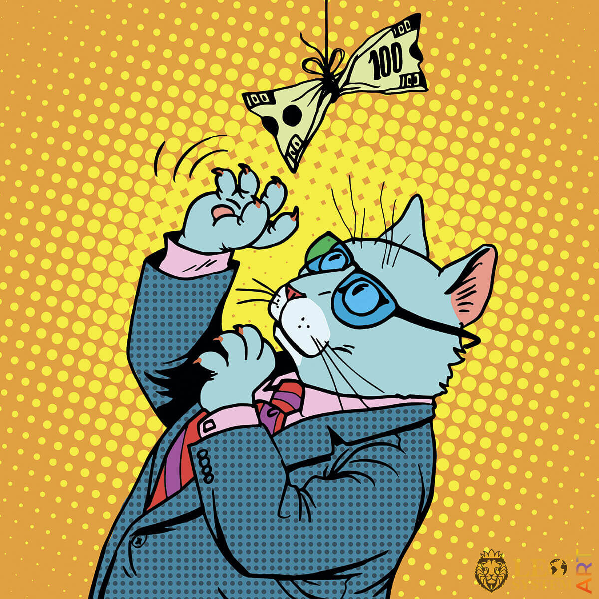 Funny cat playing with a banknote