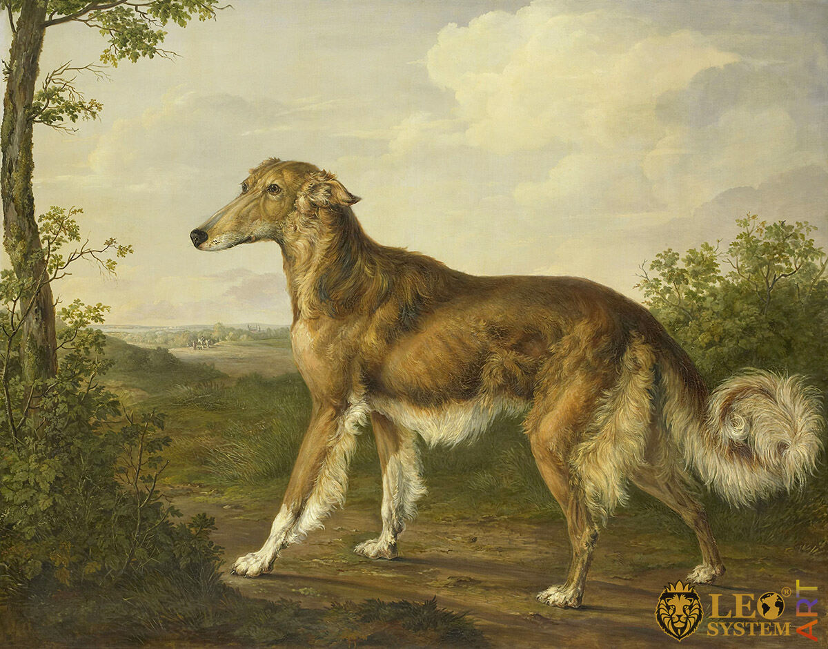 Siberian Greyhound, Artist: Jan Dasveldt, 1825, Amsterdam, Netherlands, Original painting