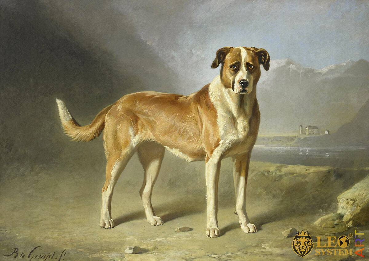 A Saint Bernard Dog, Artist: Bernard te Gempt, 1860-1879, Amsterdam, Netherlands, Original painting