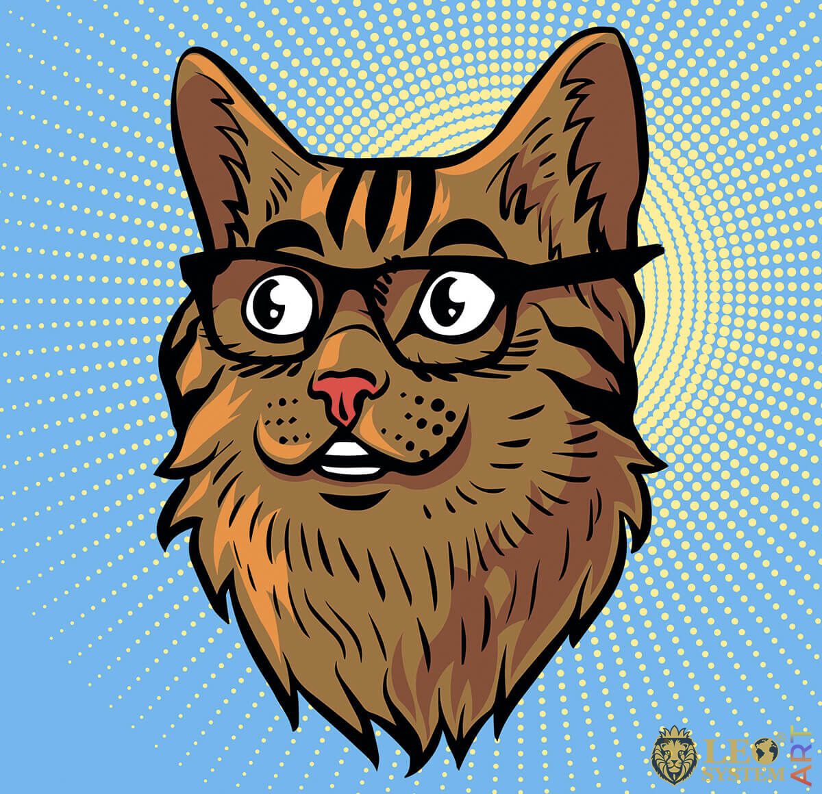 Picture of a smart cat with glasses
