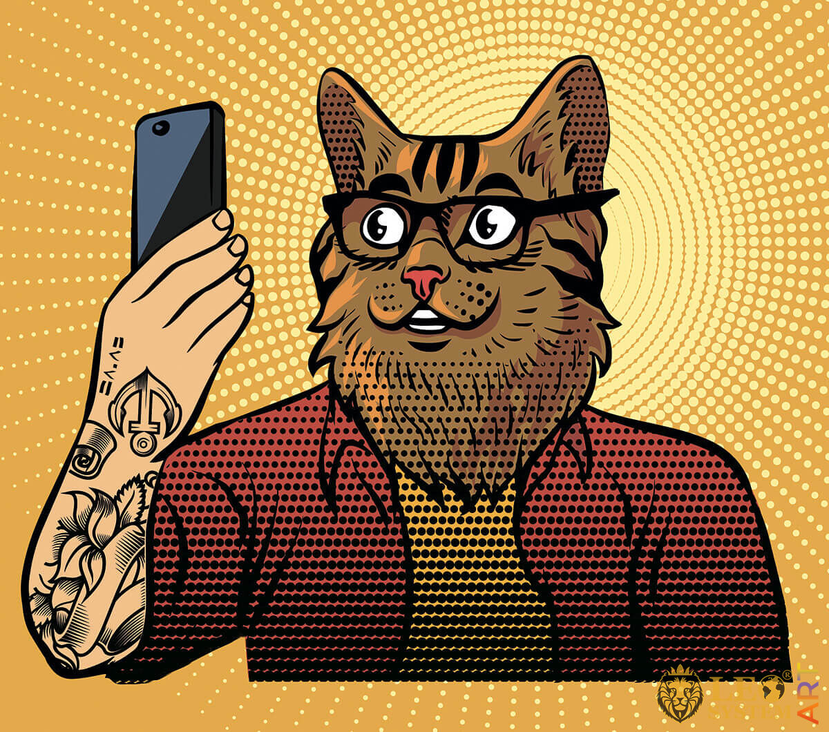 Fantastic cat looks with surprise at the mobile phone