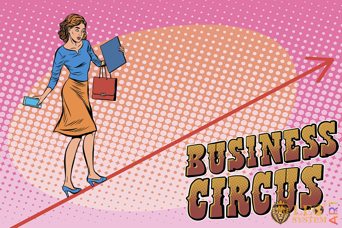 Business woman walking tightrope in circus