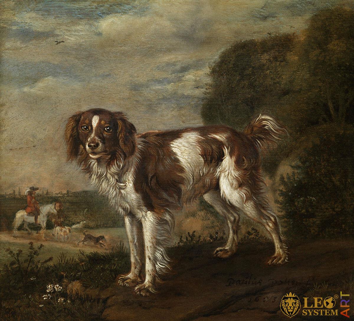 A Spaniel, Artist: Paulus Potter, 1653, Amsterdam, Netherlands, Original painting