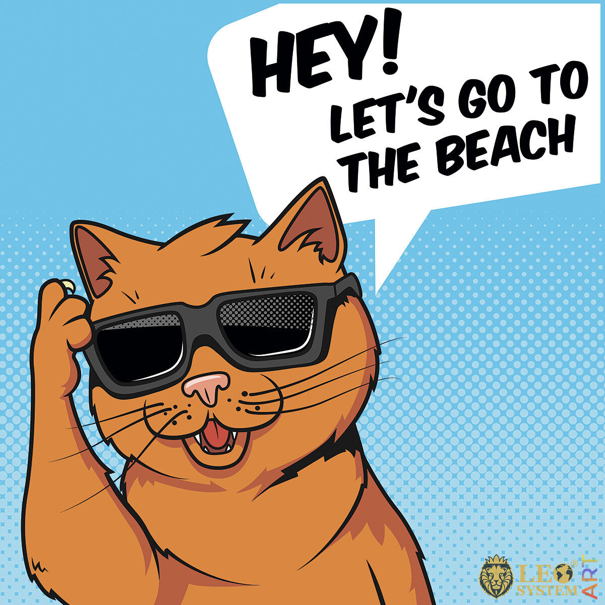 Comic cat invites everyone to go to the beach