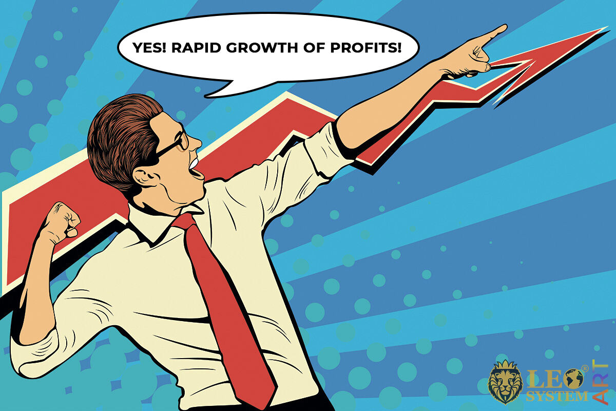 Funny picture of a business man shouting about profit growth