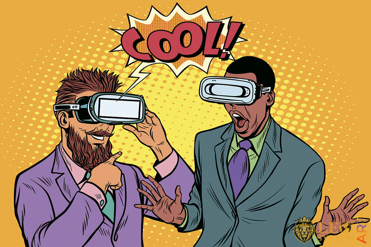 Two business men watching virtual reality glasses