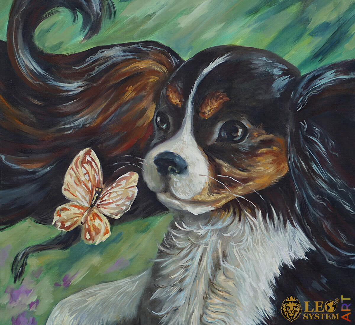 Oil painting with a pretty dog