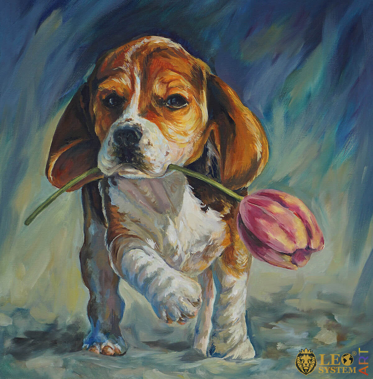 Dog with tulip, original oil painting