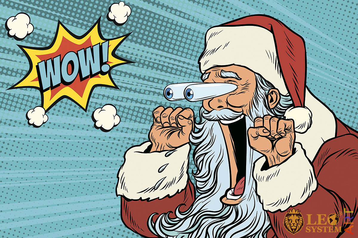 Comic picture of a stunned man in a Santa Claus costume