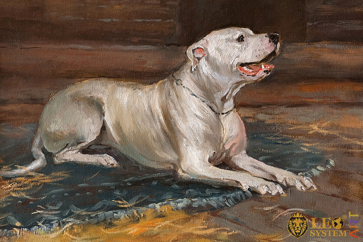 Large white dog, original painting