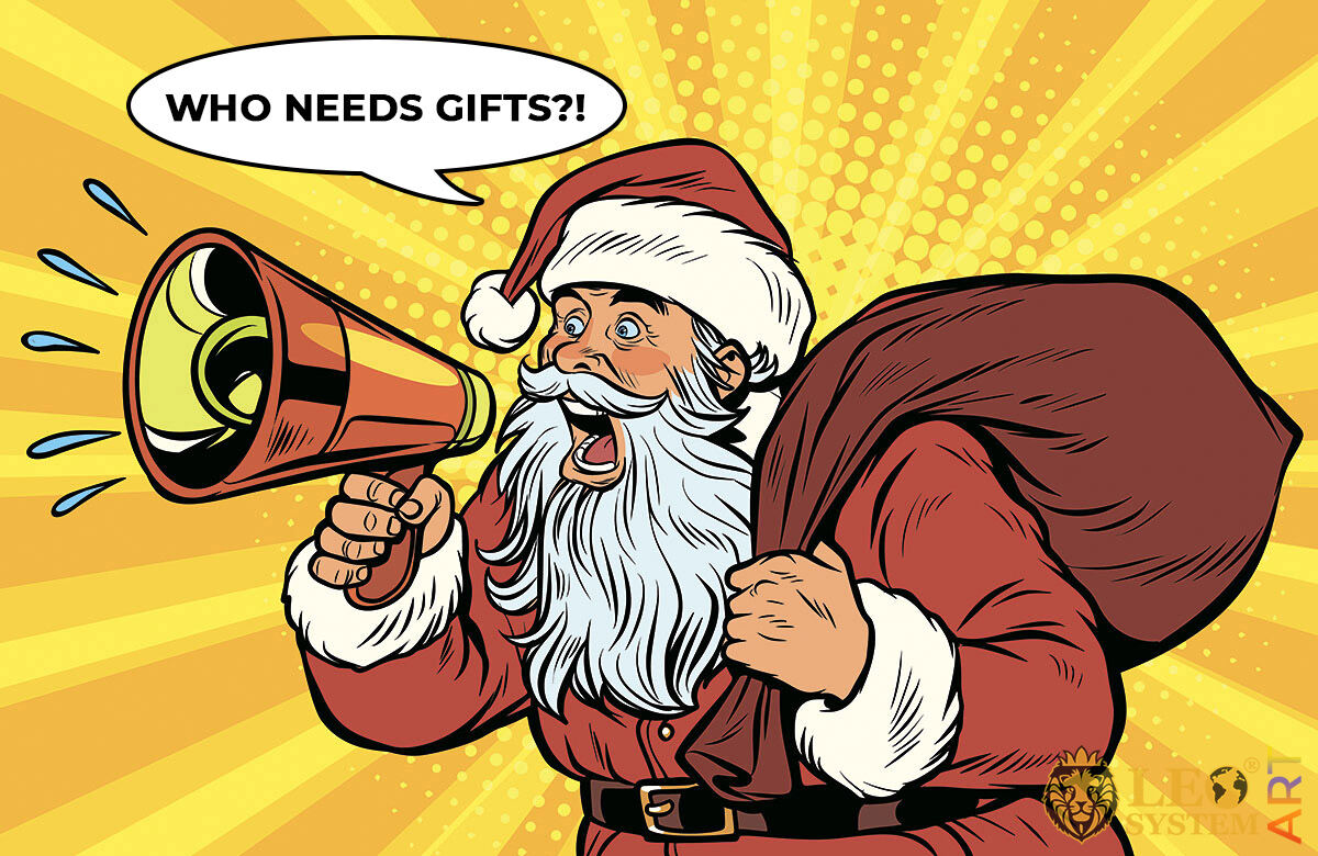 Picture of Santa Claus shouting into a megaphone about whether someone needs gifts
