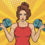 Picture of a sports woman with dumbbells in her hands