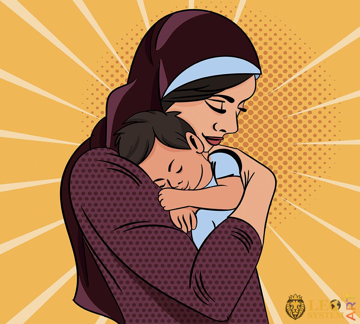 Mom gently hugs her beloved baby