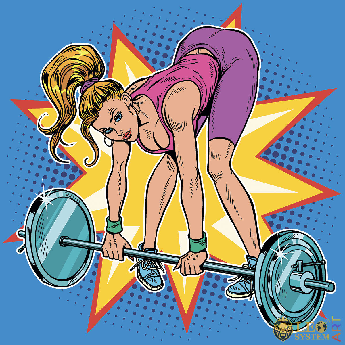 Picture of an athletic woman lifting a heavy barbell