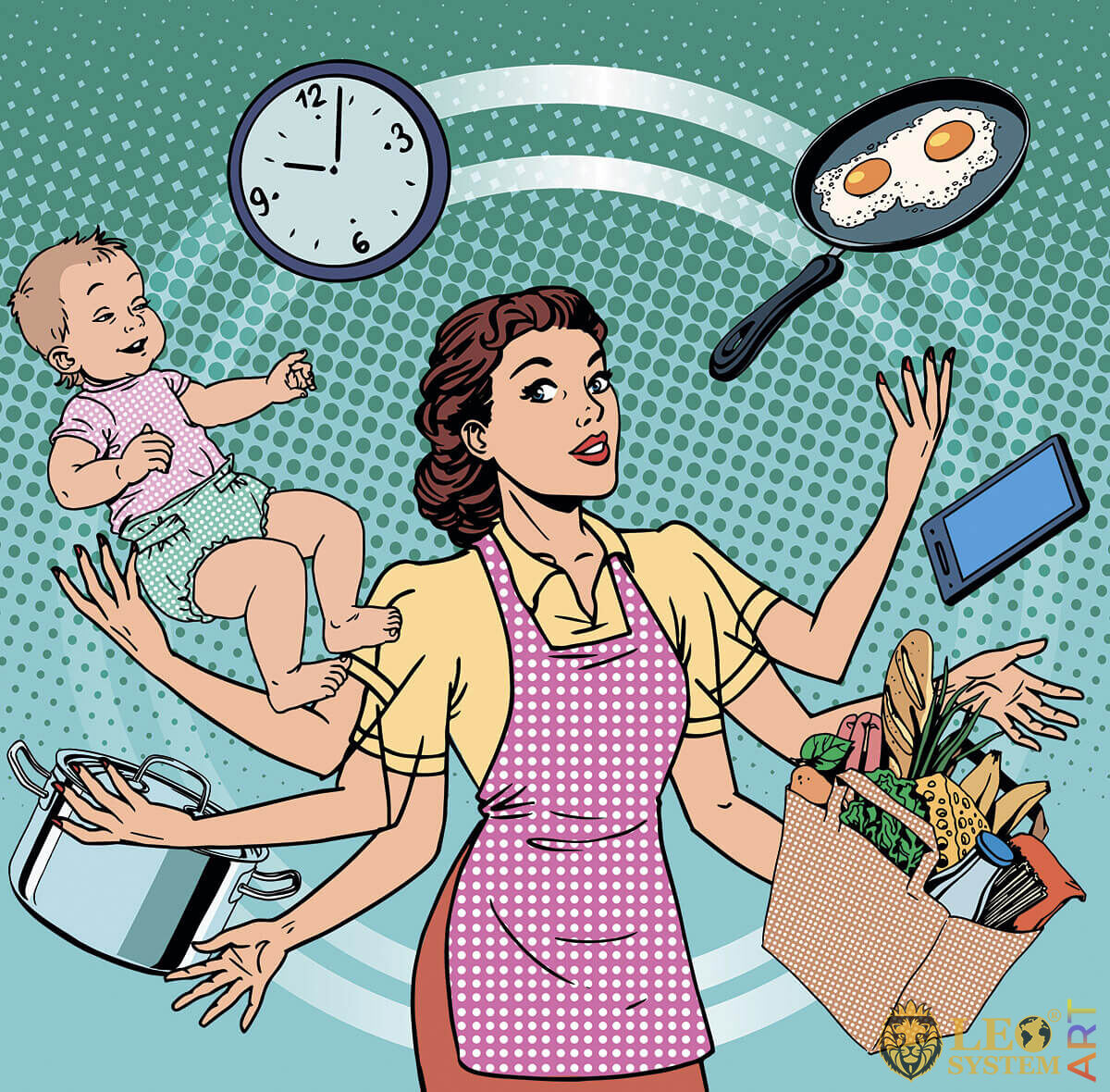 Picture of a mother who doesn't have enough time to do a lot of household chores