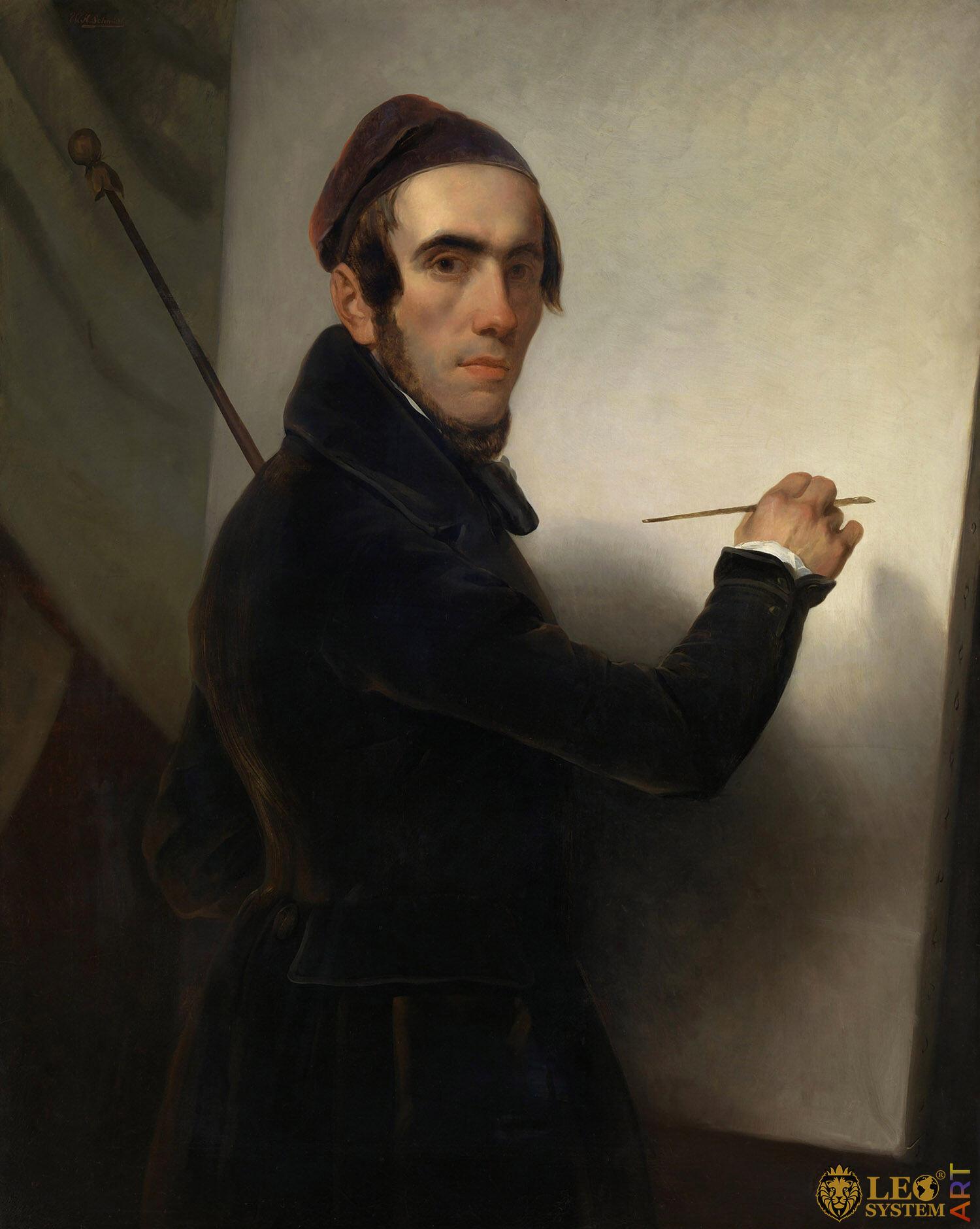 Self-Portrait, Willem Hendrik Schmidt, Painter: Willem Hendrik Schmidt, 1840-1849, Amsterdam, Netherlands, Original painting