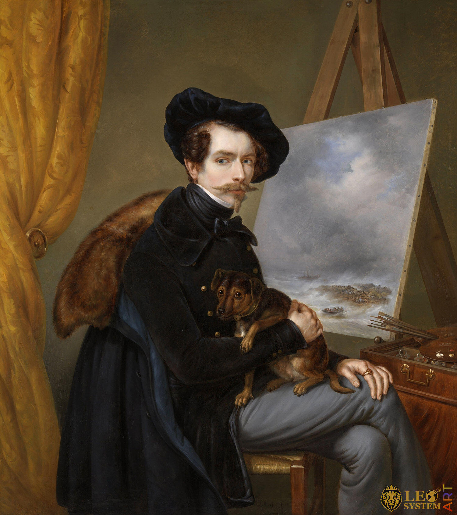 Self-Portrait, Louis Meijer, Painter: Johan Hendrik Louis Meijer, 1838, Amsterdam, Netherlands, Original painting