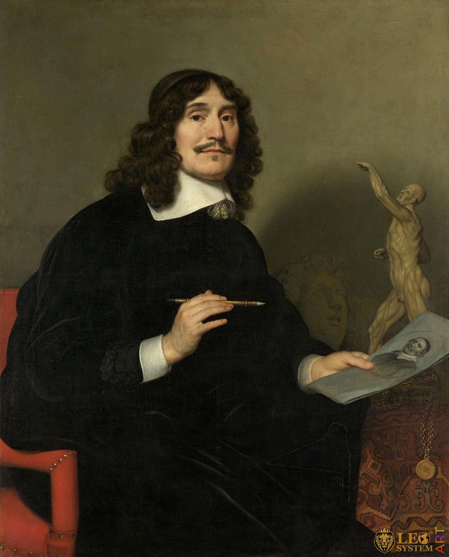 Self-Portrait of an Artist, Gerard van Honthorst, Painter: Gerard van Honthorst, 1655, Amsterdam, Netherlands, Original painting