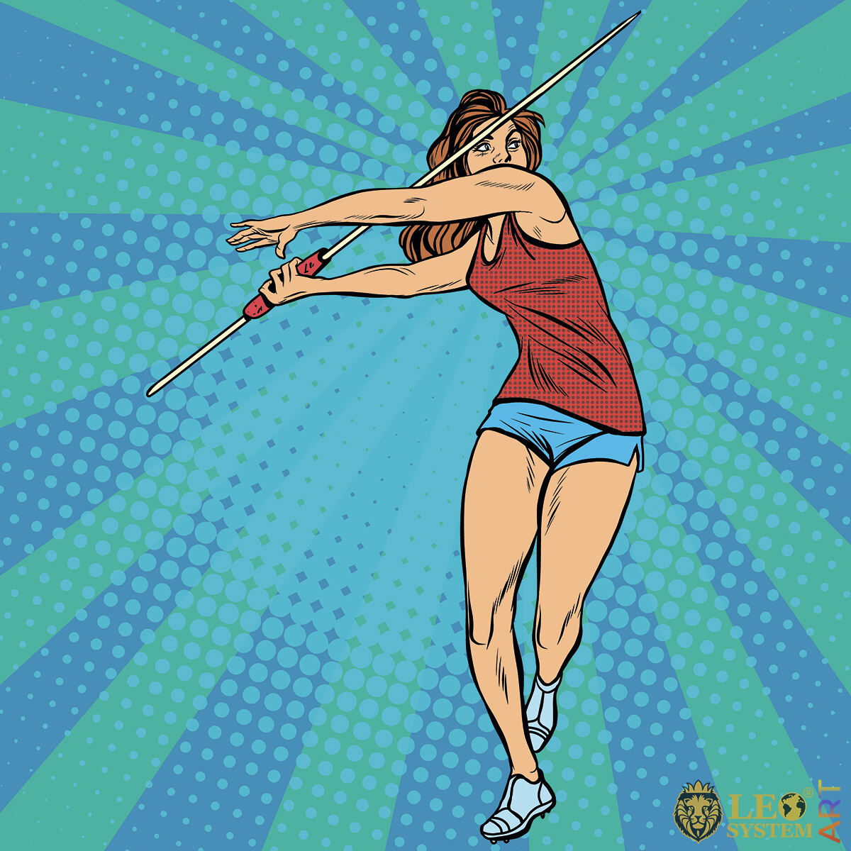 Sportive woman throwing a spear