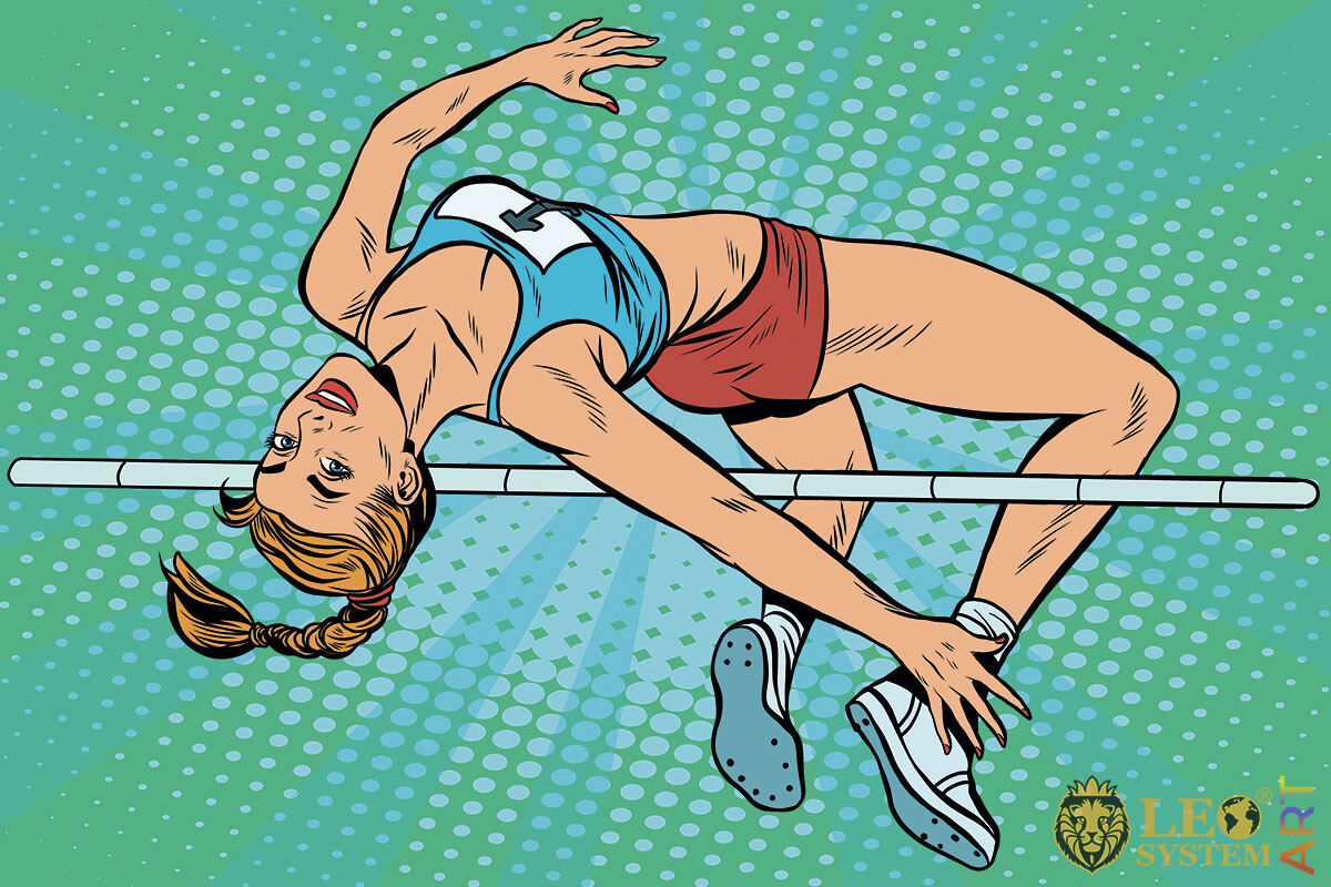 Picture of a sports woman jumping over a pole