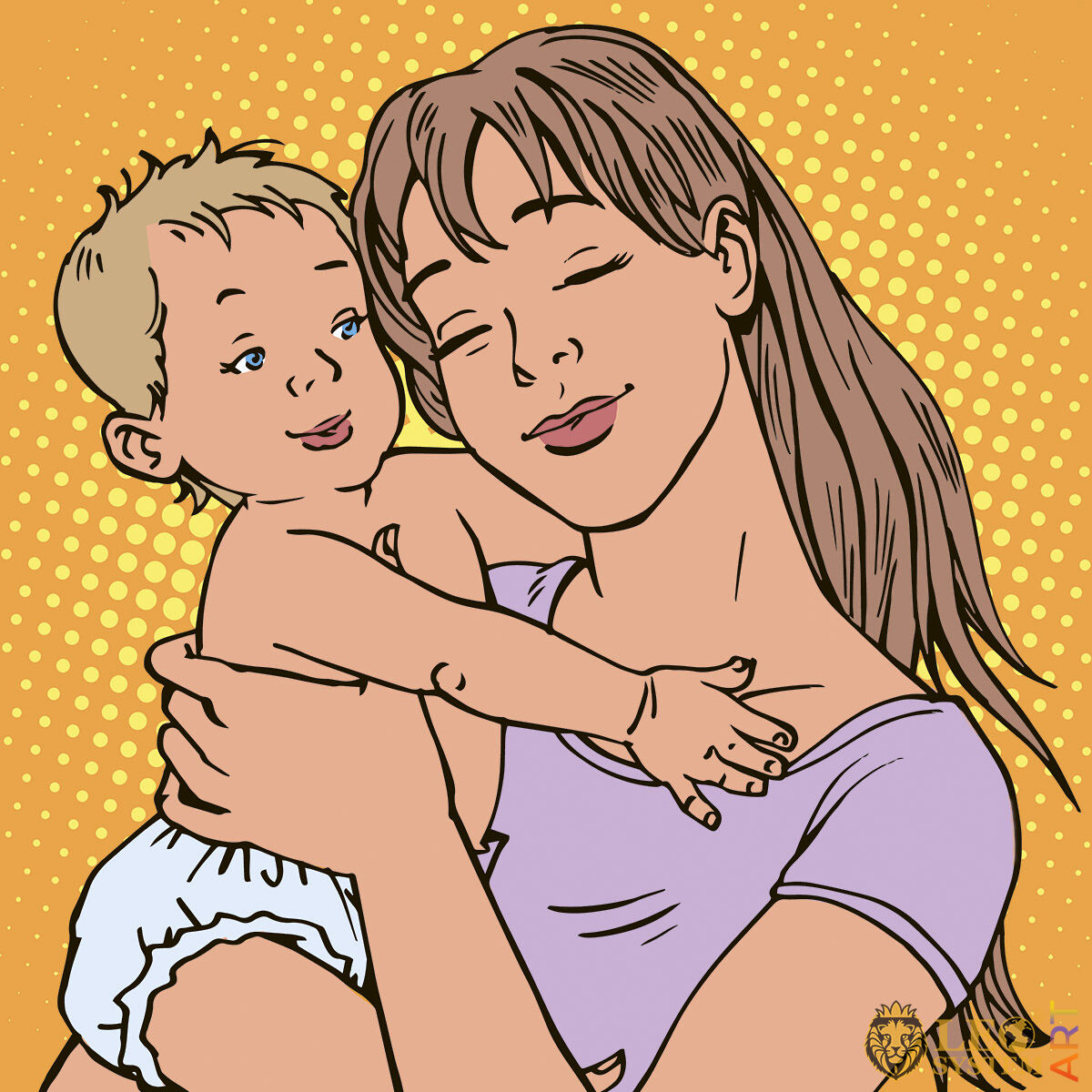 Picture of a mother and child with blue eyes