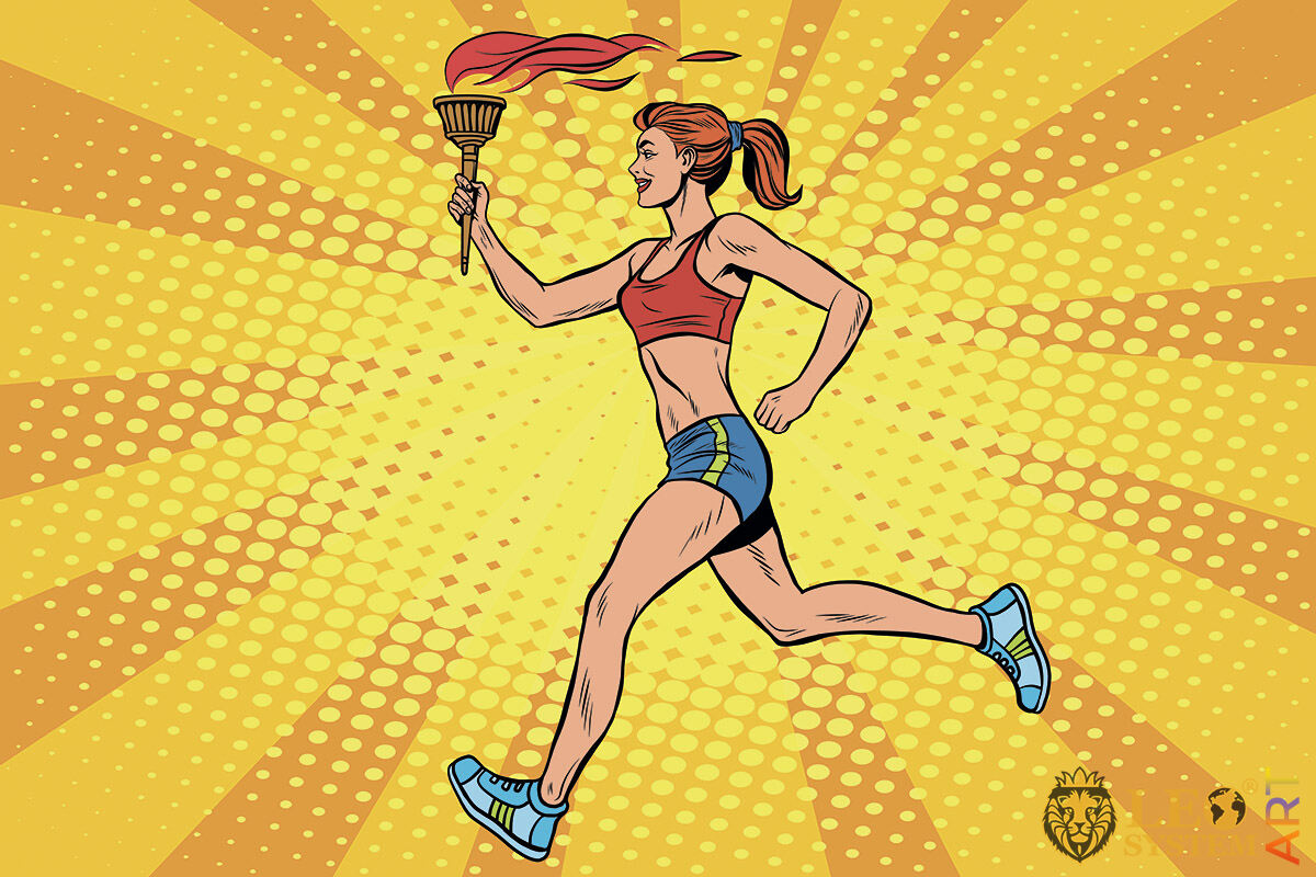 Sportswoman running with Olympic torch