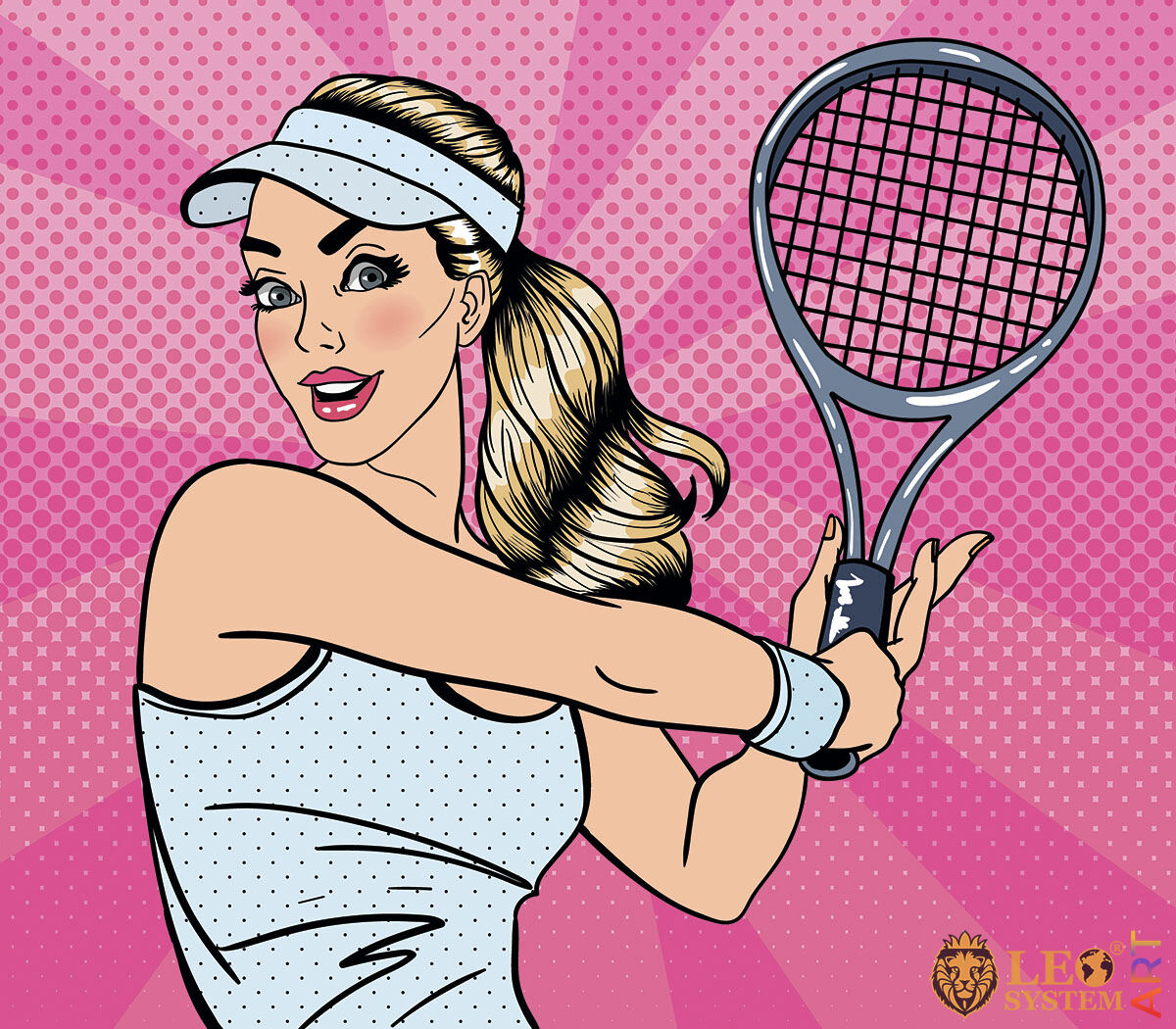 Picture of a pretty tennis player with a racket in her hands