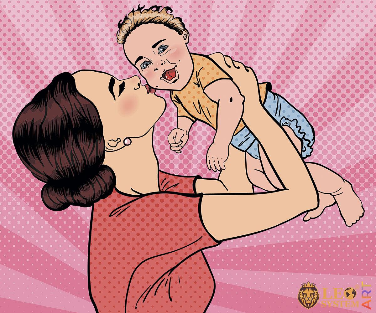 Joyful mom kisses her cute baby