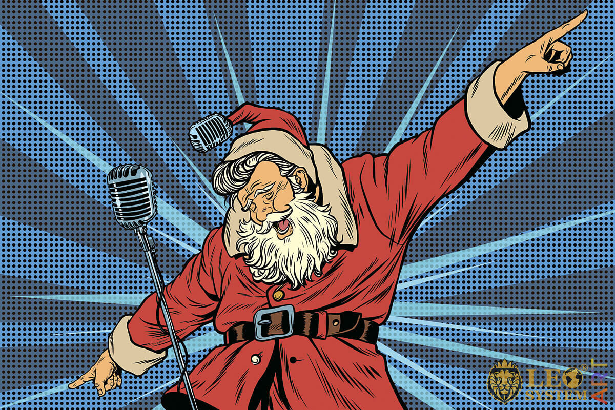 Picture of Santa Claus singing at the microphone