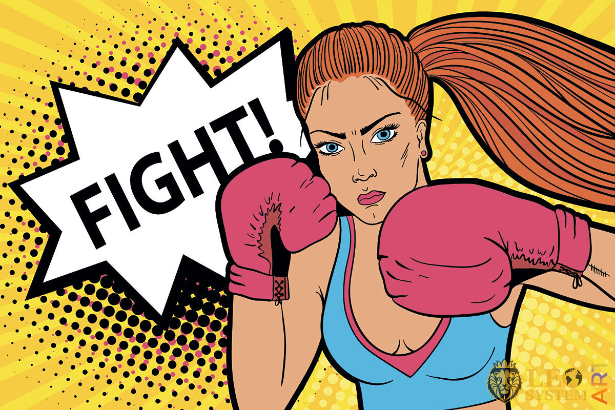 Picture of an athletic woman with boxing gloves