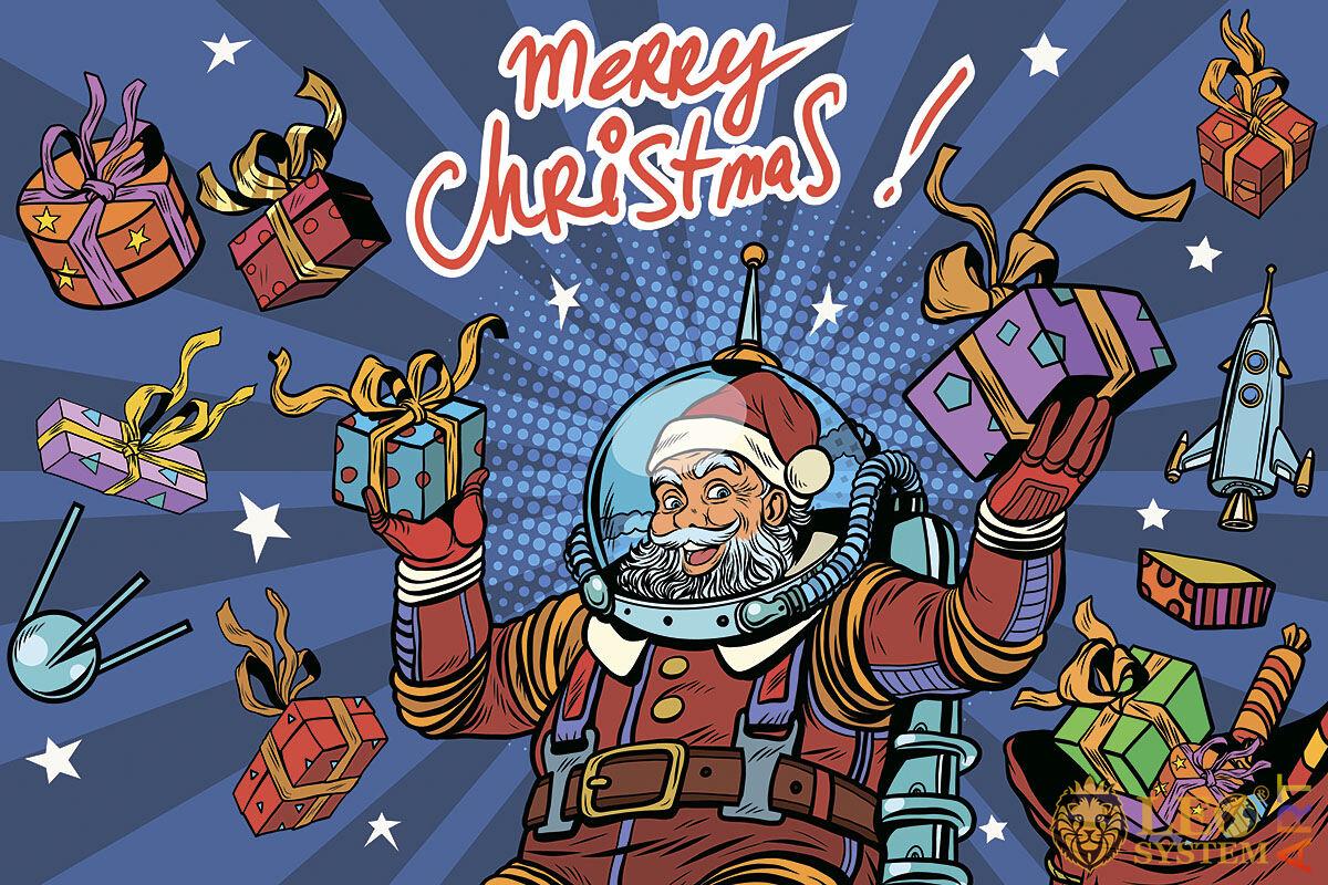 Santa Claus dressed as an astronaut congratulates everyone on Merry Christmas