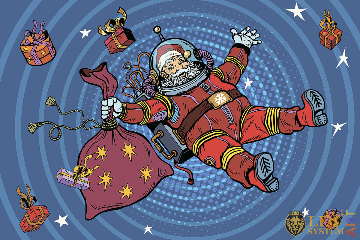 Funny picture of Santa Claus in space with flying gifts