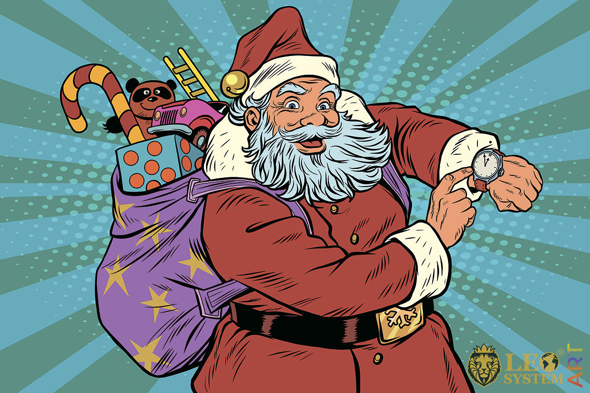 Happy Santa Claus with a bag of gifts