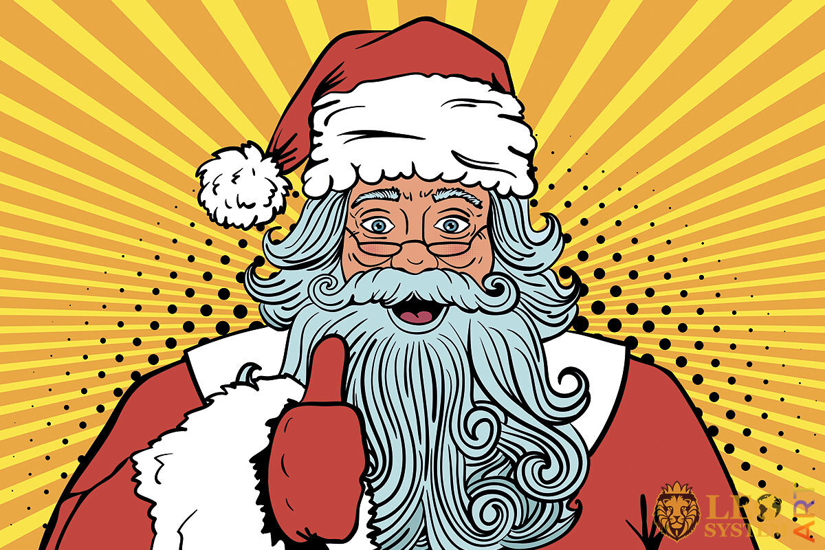 Picture of Santa Claus showing with hand a sign that everything is fine