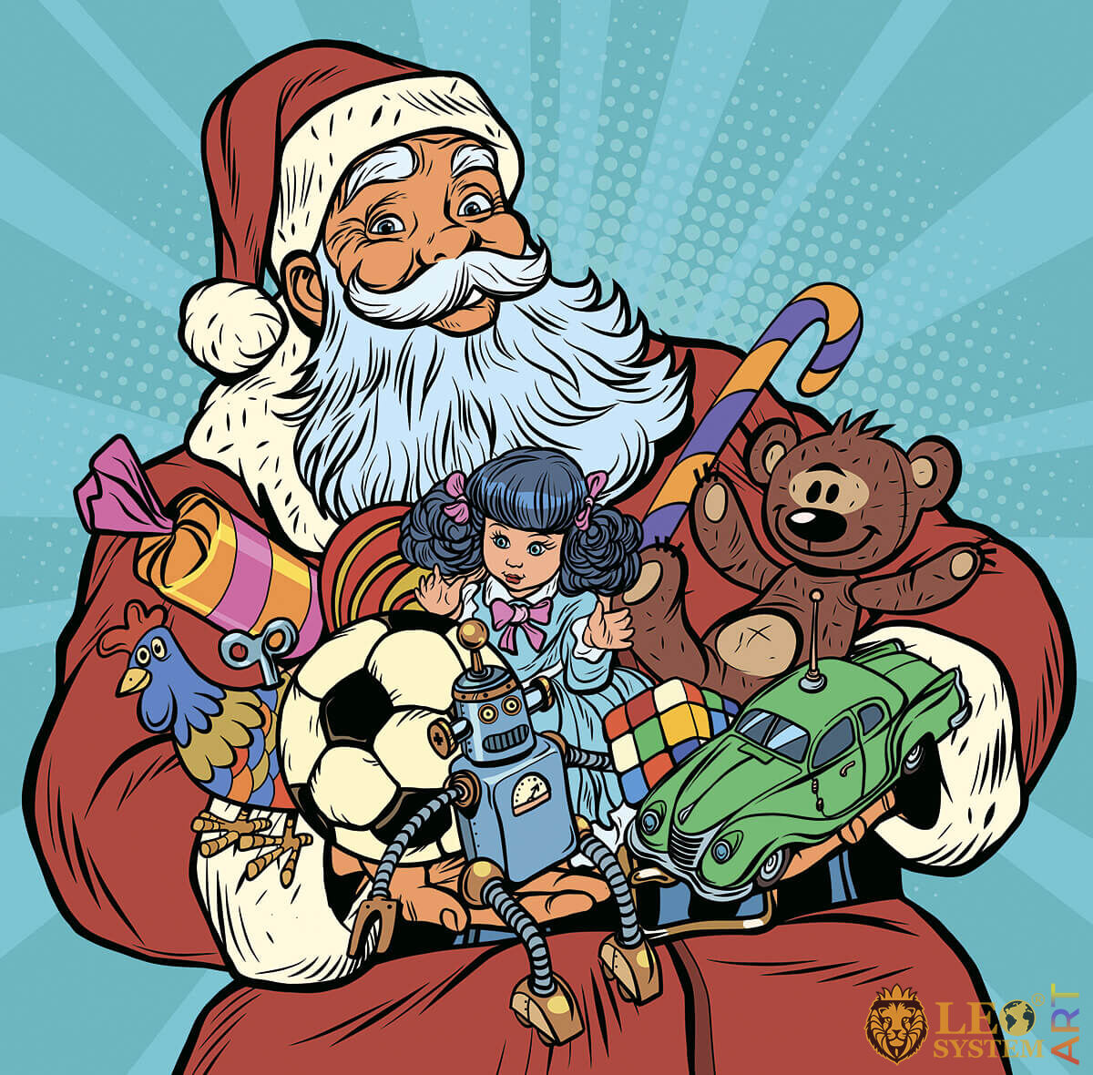 Cute Santa Claus with many gifts in his hands