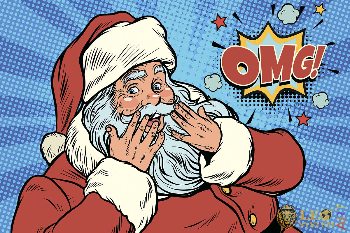 Picture of a shy Santa Claus in a red outfit