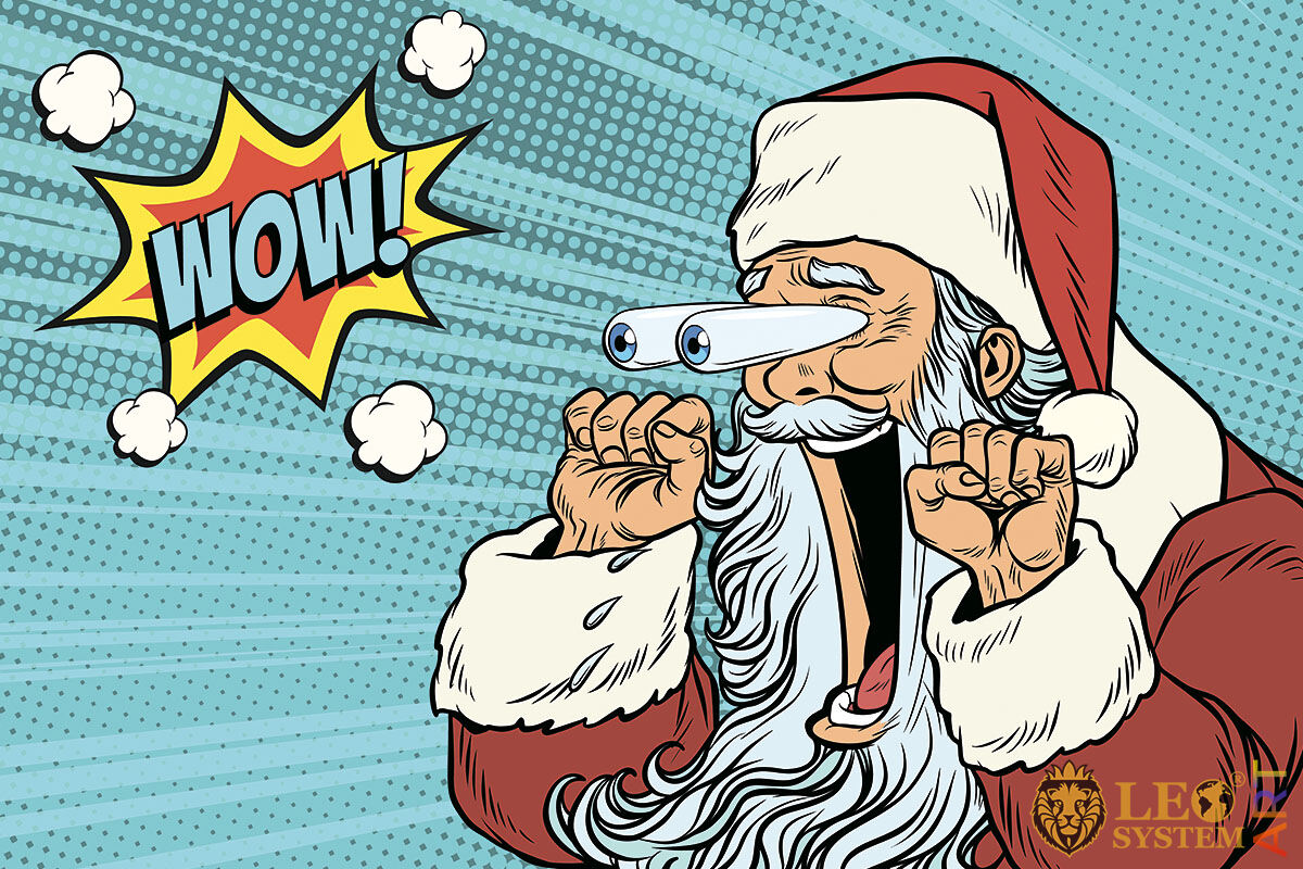 Picture of a funny Santa Claus with open mouth and bulging eyes