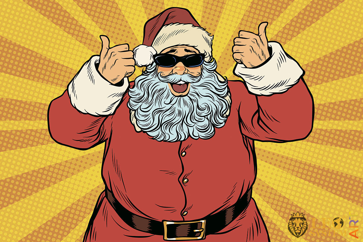 Picture of a cheerful Santa Claus in sunglasses