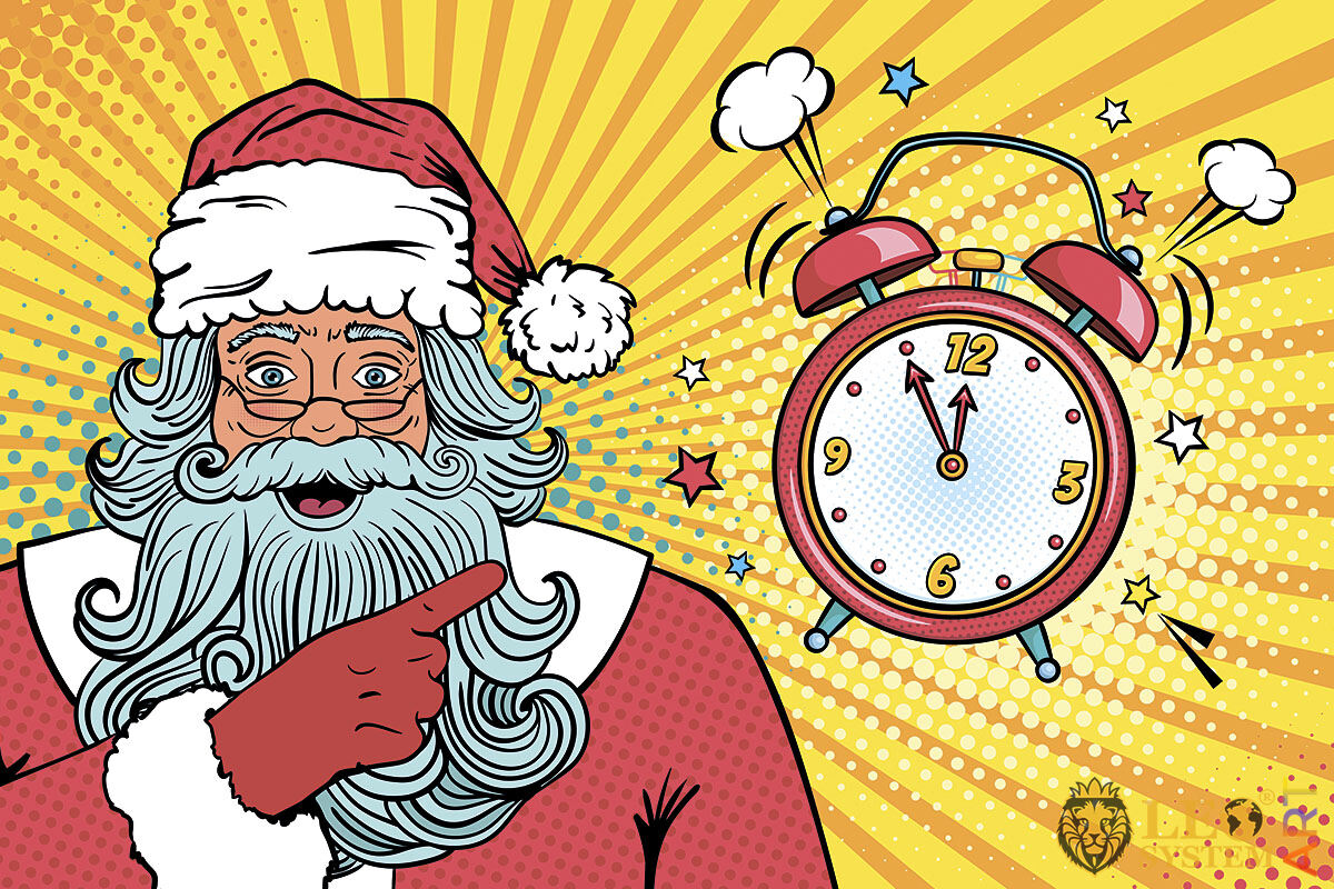 Santa Claus points his finger at the clock and says that there are five minutes left until the New Year
