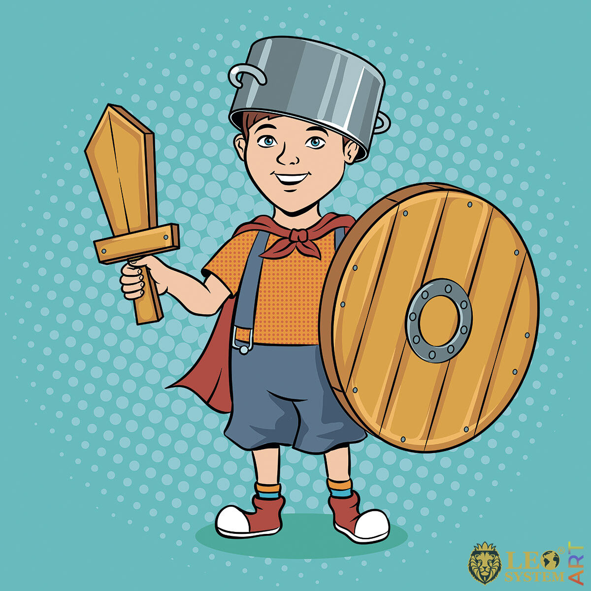 Happy boy with wooden sword and shield in hands