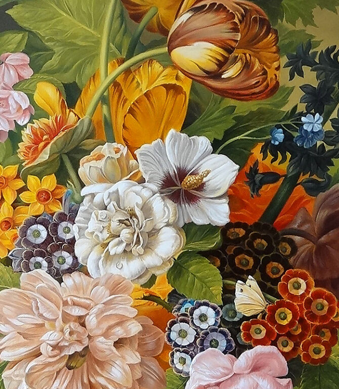 Paintings with Beautiful Flower Arrangements in a Vase