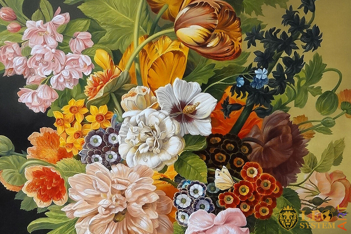 Oil painting with beautiful flowers