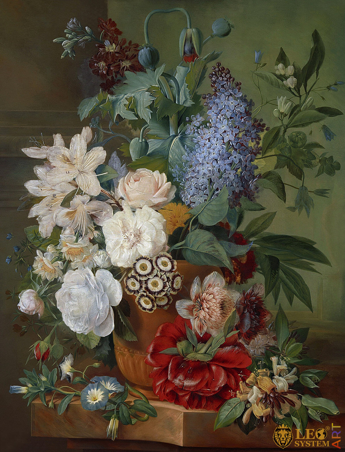 Oil painting with flowers in a vase