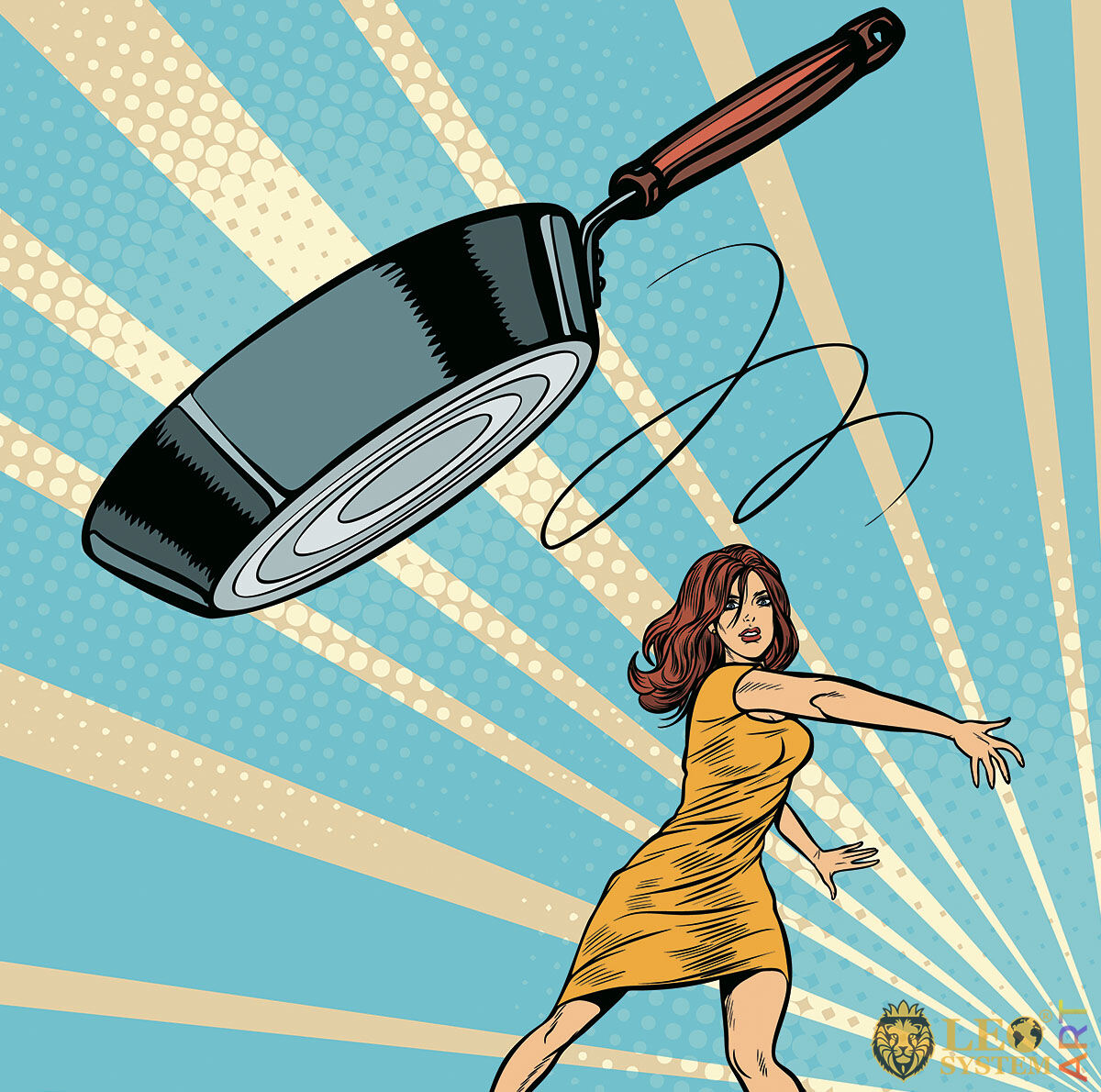 Picture of an angry woman throwing a frying pan