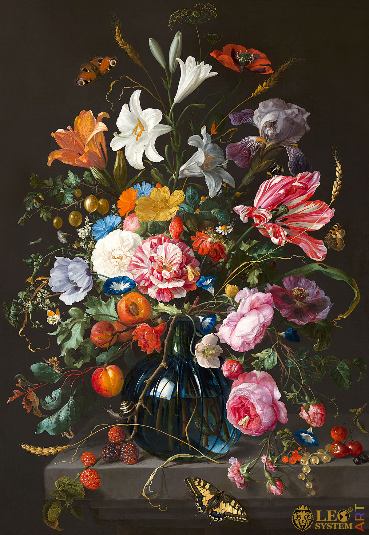 Original painting with a flower arrangement in a vase