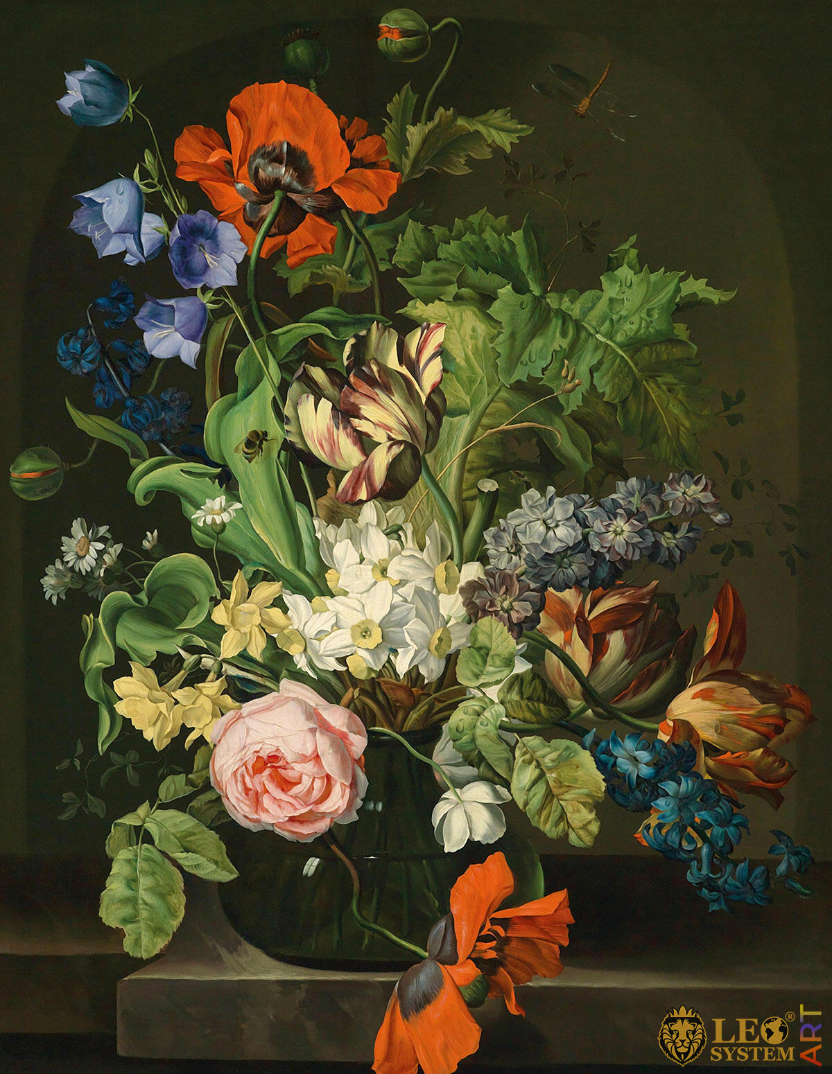 Oil painting with a lovely flower arrangement in a vase