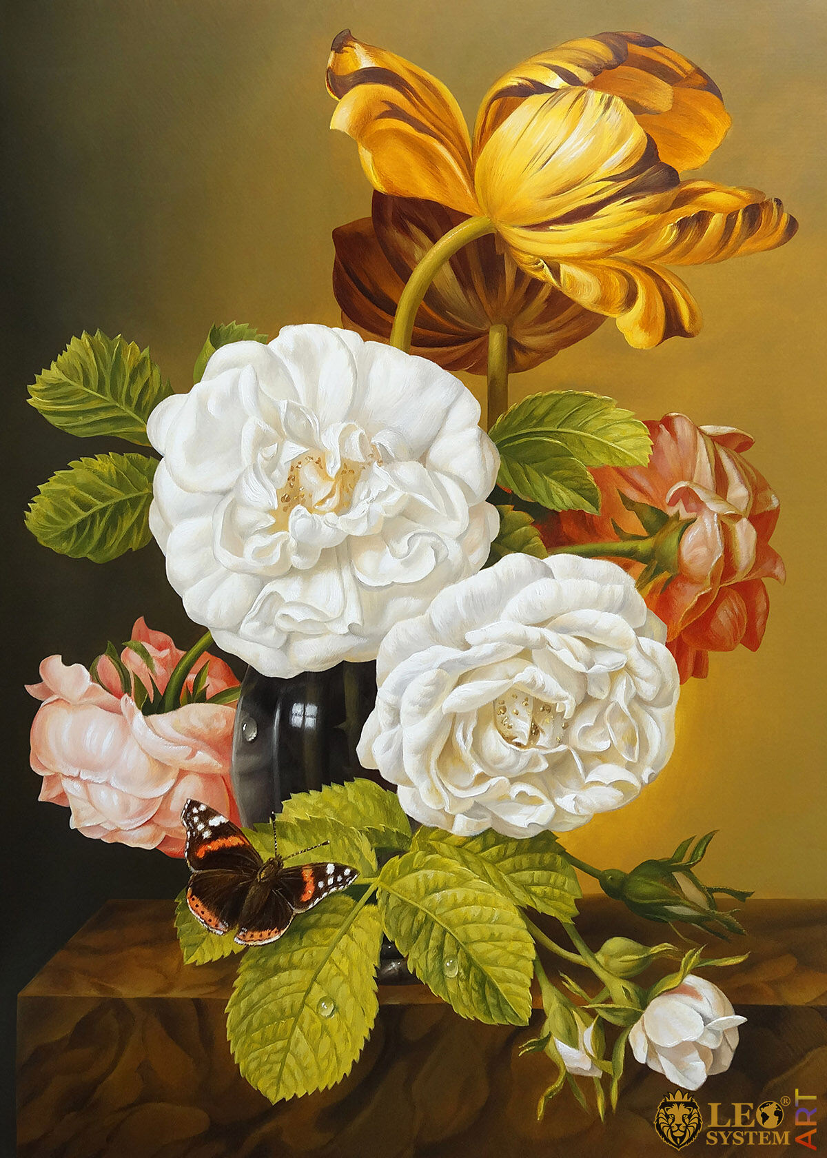 Oil painting with gorgeous flowers in a vase
