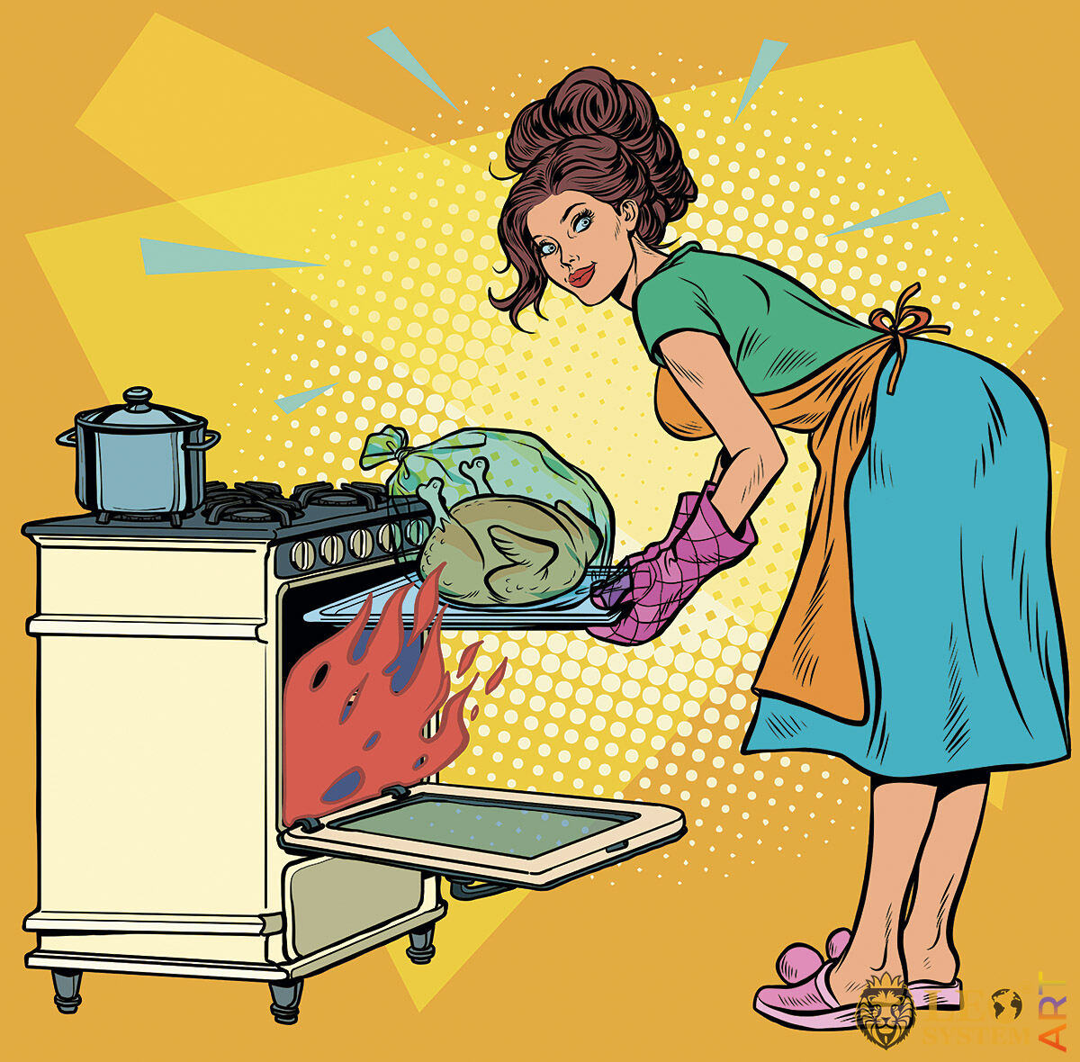 Housewife puts chicken in the oven to bake