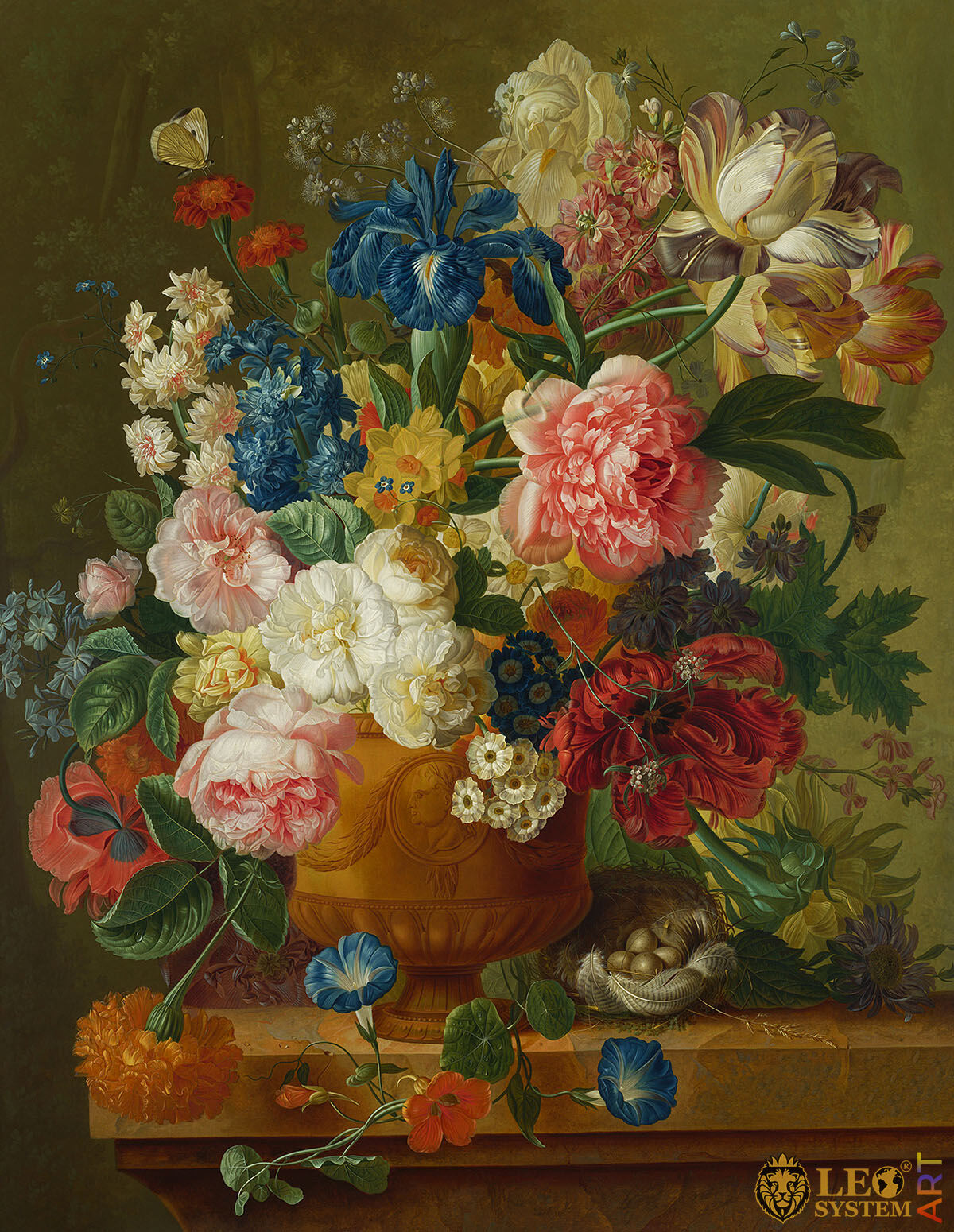 Oil painting on canvas with flowers in a vase