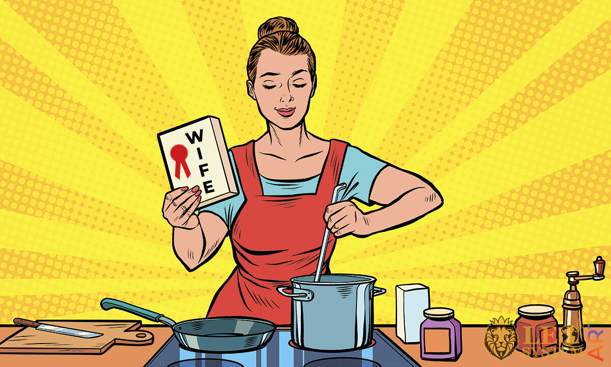 Picture of a housewife making soup in the kitchen